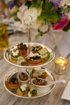 Two tiered silver tray with amuse bouche