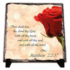 You shall love the Lord your God... Matthew 22:37. KJV Thou shalt love the Lord thy God with all thy heart, and with all thy soul, and with all thy mind WEB You shall love the Lord your God with all your heart, with all your soul, and with all your mind  Matthew 22:37 Please contact us if you would like to order a personalized Bible verses A modern alternative to the classic decorative tiles and plates, these heavy-weight stone panels show off the picture in high-def. Dyes are directly…