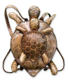 Leather backpack bag - Mother Turtle - NOVICA