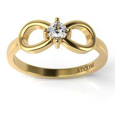 Inel de logodna din aur galben cu diamant Amadeus Aur, Wedding Looks, Bangles, Wedding Rings, Bling, Engagement Rings, Jewelry, Bracelets, Enagement Rings