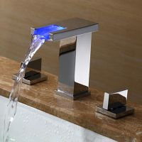 Two Handles LED Hydroelectric Waterfall Sink Faucet