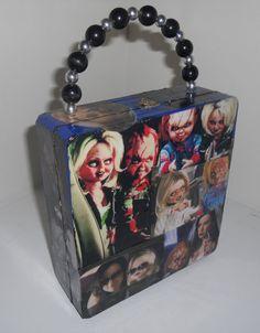 Child's Play - Chucky & Tiffany Cigar Box Purse - super cute