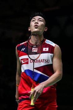 MULHEIM, GERMANY - MARCH Kento Momota of Japan reacts in the Men's Singles quarter finals match against Kanta Tsuneyama of Japan during day four of the Yonex German Open on March 2019 in Mulheim, Germany. (Photo by Shi Tang/Getty Images) Badminton Match, Badminton Photos, Badminton Sport, Badminton Racket, Racquet Sports, Sports Stars, Festival Outfits, Future Husband, The Man