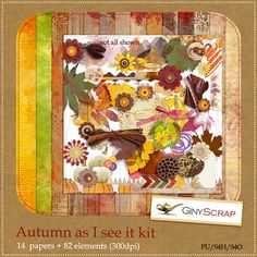 Autumn As I See It Kit by Giny Scrap. A huge autumn themed kit at Zig Zag Scrap  https://zigzagscrap.com/store/Autumn-as-I-see-it-kit-by-Giny-Scrap.html
