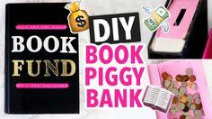 Karen makes piggy banks using a book box and a hardcover book.