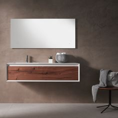 Enjoy the benefits of modular collections by mixing a 51 frameless mirror with a 45° wall-mount vanity