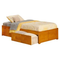 Atlantic Concord Twin Flat Panel Footboard with 2 Urban Bed Drawers Caramel Latte