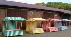 Klipklap German made colored market stall striped gruenweiss, gelbweiss, rotweiss, blauweiss Diy Crafts Useful, New Crafts, Tienda Pop-up, Bar Deco, Stand Feria, Craft Stalls, Craft Fair Displays, Food Stands, Ideias Diy