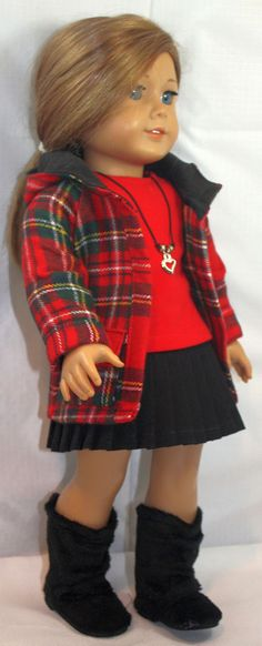 American Girl Doll Clothes-Red Plaid Hooded Jacket, Pleated skirt, T shirt, Necklace and Boots