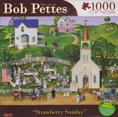 The Art of Bob Pettes 1000-Piece Jigsaw Puzzle-Strawberry Sunday EUC