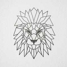 Art géométrique Lion en métal