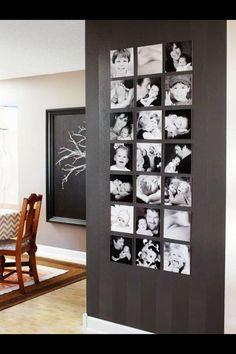 Frameless square family photos in black n white. Love it!