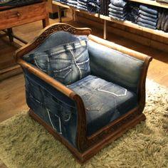 Amazing jeans chair at Patrizia Pepe Amsterdam