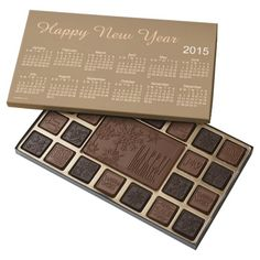 Happy New Year 2015 Calendar by Janz Chocolates 45 Piece Assorted Chocolate Boxes.  Click on the store link for current year to personalize.