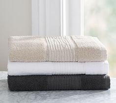 Linen Banded Towels #potterybarn