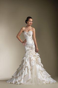 2013 Wedding Dresses Trumpet/Mermaid Sweetheart Sweep/Brush Train Taffeta