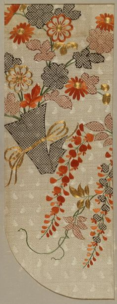 Fragment of a Kimono (Kosode) with Design of Noshi Paper with Chrysanthemums and Plum Blossoms; Japan, Edo period, early 18th century; Stenciled imitation tie-dyeing (kata-kanoko), ink drawing, silk and metallic thread embroidery on figured silk (LACMA)