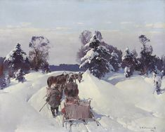 Stepan Fedorovitch Kolesnikoff  (1879 -1955) On the way to market 1942, oil on canvas. Kolesnikoff was a distinguished Russian Realist painter. His prolific work in oil and especially in gouache, won him the highest regards from the foremost Russian artist of his day, Ilya Repin.