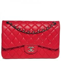 CHANEL Lambskin Quilted Jumbo Double Flap Red