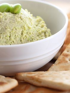 A twist on traditional hummus using one of my favorite healthy snack foods: Edamame.