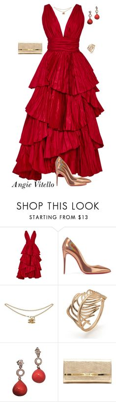"""Untitled #986"" by angela-vitello on Polyvore featuring Oscar de la Renta, Christian Louboutin and Jimmy Choo"