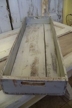 Shabby farmhouse wooden tray or crate table centerpiece candle holder shelf decor anita spero Wood Tray, Wood Crates, Wood Boxes, Wood Pallets, Pallet Tray, Into The Woods, Pallet Crafts, Wooden Crafts, Wooden Decor