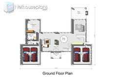 Modern 4 bedroom house plan with pictures features 4 garages. Browse modern double storey house plans pdf and 4 bedroom double storey house plans for sale. 4 Bedroom House Designs, 4 Bedroom House Plans, Bungalow House Design, House Floor Plans, Double Storey House Plans, House Plans For Sale, Built In Braai, House Plans South Africa, Two Story House Design