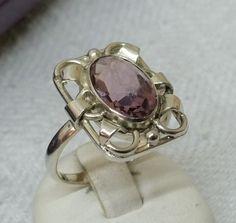 Vintage Ringe - Ring Silber 835 Kristallstein fliederfarben SR344 - ein…