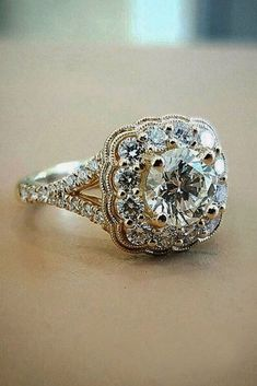 Vintage Engagement Rings With Stunning Details ❤ See more: http://www.weddingforward.com/vintage-engagement-rings/ #weddings #stunningrings
