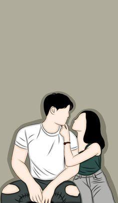 Cute Couple Drawings, Cute Couple Cartoon, Cute Couple Art, Cute Cartoon Drawings, Kpop Drawings, Girly Drawings, Cute Love Cartoons, Cartoon Girl Drawing, Cartoon Art