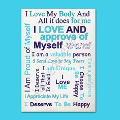 Self Love Affirmation  A4 Printable  Blue  A4 by HeavenElevenuk