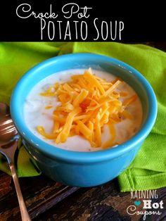 Paula Deen's Crock Pot Potato Soup Recipe - this is the BEST comfort soup recipe you'll ever make!