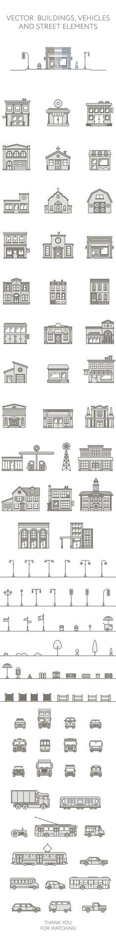 Vector Buildings, vehicles and street elements Web Design, Vector Design, Icon Design, Vector Art, Flat Design, Building Illustration, Illustration Vector, Affinity Designer, Graphic Design Inspiration