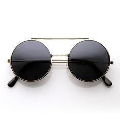 Steampunk Vintage Inspired Retro Round Circle Flip Up Sunglasses 8795