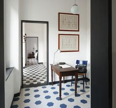 Floor tile in Italy; each room is tiled in a different pattern
