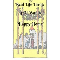 """Real life tarot, where I learn tarot with living daily life with tarot. Element: Fire Meaning: Celebration, home coming, stability, home, family , festivals The 4 of wands, warms the heart. I am always happy to see it. It's family celebrations and joyful occassions. The number """"4"""" represents stabiity , so everything is going as … Continue reading """"Real Life Tarot: 4 of Wands  """"Happy Home"""""""" The Number 4, Daily Tarot, Tarot Learning, Joyful, Stability, Continue Reading, Wands, Festivals"""