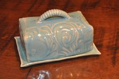 Hand built butter dish on Etsy  #pottery #ceramics #dish