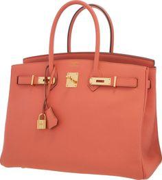 Hermes 35cm Rose Jaipur Epsom Leather Birkin Bag with Gold Hardware