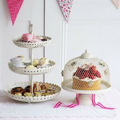 Display homemade scones and finger sandwiches for afternoon tea on this charming 3-tier enamel cake stand, featuring cut out detailing.