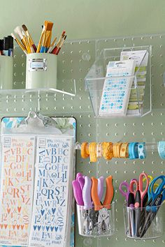 shelves and pegboards. clipboard