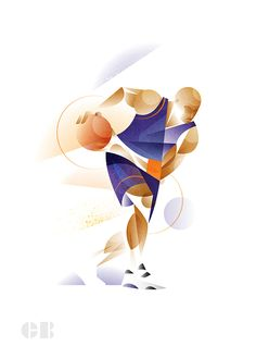 A series of illustration studies exploring geometry and dynamism in the human form using larger than life athletes