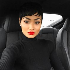 Micah Gianneli — Black on black + candy apple lips 💋 Short Sassy Hair, Short Pixie, Short Hair Cuts, Pixie Styles, Short Hair Styles, Maquillage Black, Micah Gianneli, My Hairstyle, Hairstyles