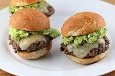 California Sliders Recipe Lunch with ground chuck, slider buns, salt, pepper, pepper jack, butter, avocado, lime, salt, cilantro, garlic, cayenne pepper