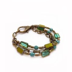 Blue & Green Picasso Glass Bracelet  Beaded by RockStoneTreasures, $48.00
