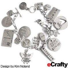 Easy STAMPED METAL CHARM BRACELET Tutorial: Kim was inspired by eCrafty.com's 100pc Word Charms Mega Mix to make this fun charm bracelet using just 3 items from eCrafty.com. She added our #stamped-word-charms with #jump-rings at even intervals up and down the chain of our simple toggle #charm #bracelet. #handmade #stampedmetal #stampedcharms #message #wordcharms #charmbracelet #diybracelet #diyjewelry #etsy.   #crystal #beads #ecrafty