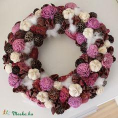 Lila, rózsás tavaszi AJTÓDÍSZ, kopogtató koszorú, Dekoráció, Otthon, lakberendezés, Ünnepi dekoráció, Karácsonyi, adventi apróságok, Karácsonyi dekoráció, Meska