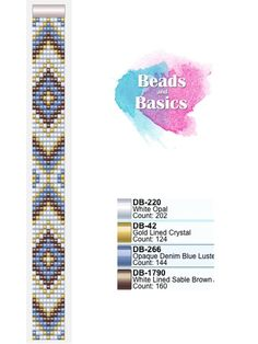 blue, gold and brown miyuki beadloom pattern - patronen voor weefarmbandjes