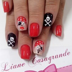 Yo, ho, yo, ho!  A Pirate's life for me...  Arrg!  If only I could do something this creative free hand! Instagram by lianecds #nails #nailart #naildesigns