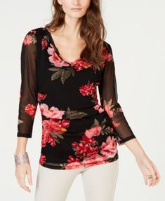 cb8d709ab6f482 INC International Concepts I.N.C. Double-Layered Floral Top