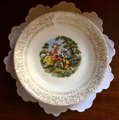 Love the gold on this vintage Godey print china pattern - Southern Vintage Table